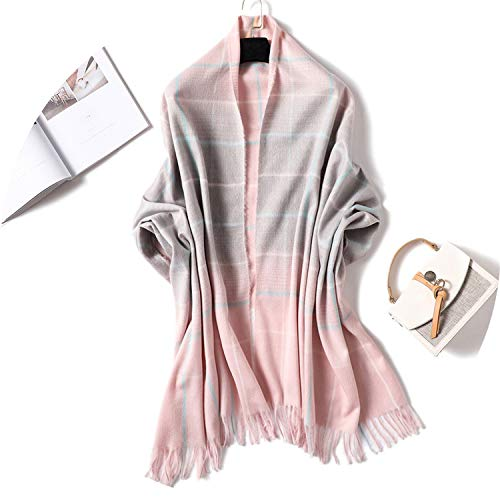 Plaid Print Fashion Winter Women Cashmere Scarf Pink Grey Tassel Warm Shawls And Wraps Lady's Long Scarf,Color 2,Length ()