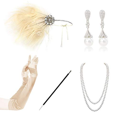 Gold Vintage Bracelets Pearl - HAMIST 1920s Accessories Set Flapper Costume for Women Headband Gloves Cigarette Holder Necklace Bracelets (White-B)