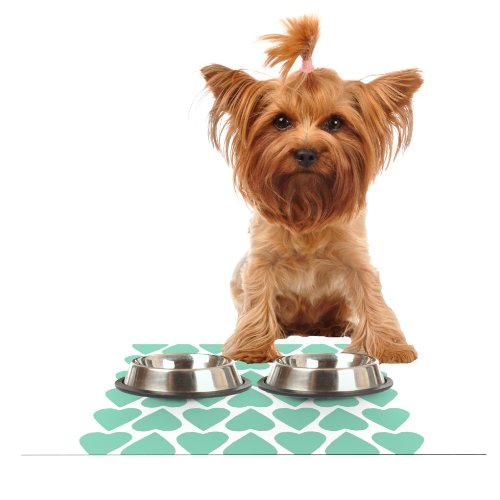Kess InHouse Project M Mint Up and Down Hearts  Feeding Mat for Pet Bowl, 18 by 13-Inch