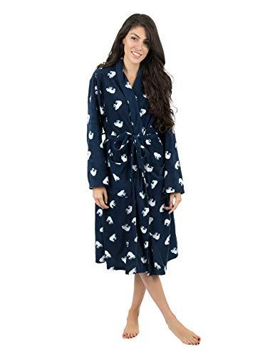 Leveret Womens Robe Soft Micro Fleece Plush Shawl Collar Bathrobe Polar Bear Size S/M