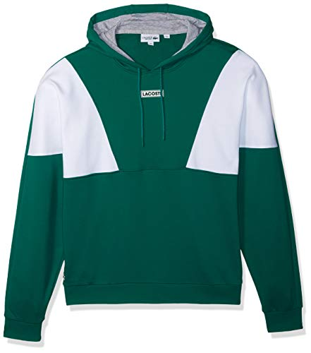 Lacoste Men's Sport Long Sleeve Color Blocked Pull Over Hoodie Fleece, Woodland Green/White/Silver Chine 4X-Large