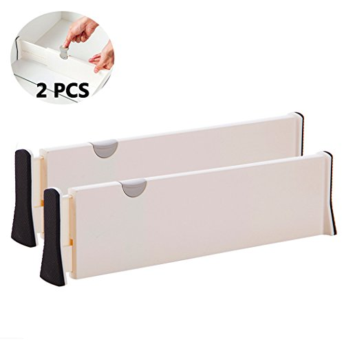 CamRom 2PCS Expandable Cabinet Drawer Divider 4 Inches Kitchen Storage and Organization (Expandable Dresser Drawer Divider)