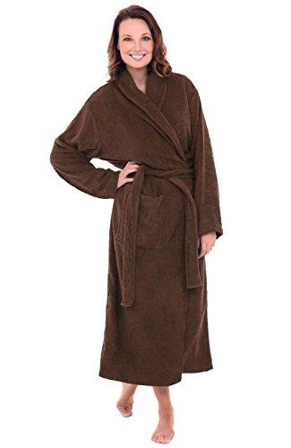 Del Rossa Women's Turkish Terry Cloth Robe, Long Cotton Bathrobe, 1XL 2XL Chocolate Brown - Chocolate Terry Cloth