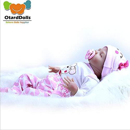 Happy OtardDolls 18 inch Realistic Rebirth Doll Closed Eyes Infant Newborn Baby Silicone Toy Boy Girl Birthday Gift Toy Set Accessories -