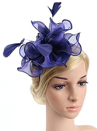 Merya Dress MeryaDress Tea Party Kentucky Derby Fascinators Hair Clip Prom Cocktail Feather Hats Blue by Merya Dress