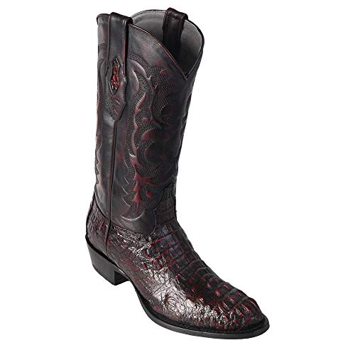 LOS ALTOS BOOTS Mens Caiman Hornback Round Toe Western Cowboy Boot Brown 8.5 D