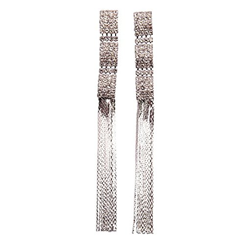Liberty Charms Designer Inspired, celebrity Diamante 'Crystal String' Earrings 12cm- (Celebrity 12 String)