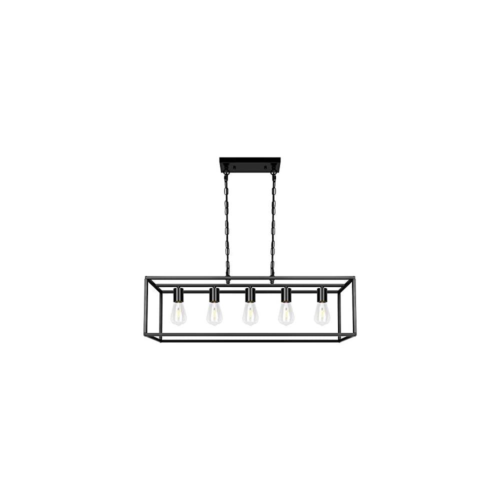 Black Farmhouse Kitchen Island Lighting Modern Linear Chandelier Industrial Dining Room Rectangular Light Fixtures for…