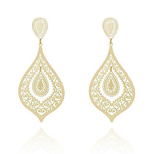 Ally Hollow Cutout Flat Filigree Teardrop Design Dangle Hook Earrings for Women, Golden