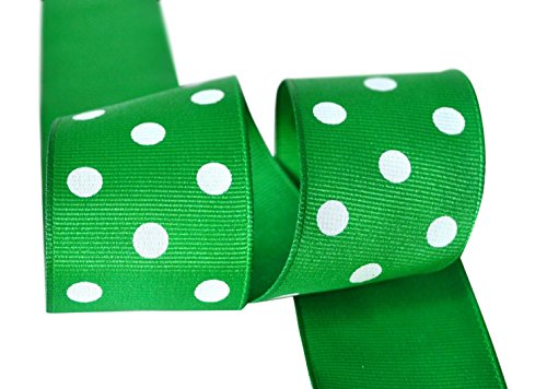 Ribbon Bazaar Grosgrain Polka Dots 1-1/2 inch Emerald 5 yards 100% Polyester Ribbon