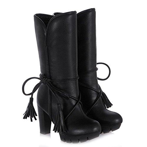 Black Bottes TAOFFEN Talons Enfiler Chaud Hiver A Schuhe Hauts Classical Neige Femmes de WfAqwfO7T