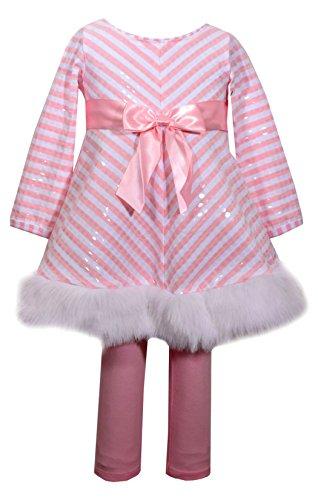 Bonnie Jean Girls' Little Chirstmas Knit Dress and Legging Set, Pink Stripe, 4]()