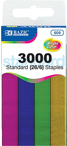 BAZIC 3000 Ct. Standard (26/6) Metallic Color Staples