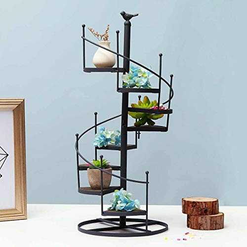 Plant Stand Spiral,Rust Proof Iron Black Metal Spiral Staircase Display Stand 8 Tier European Retro Home Ornaments Storage Decorative Plant Stand,56Hx23Wcm