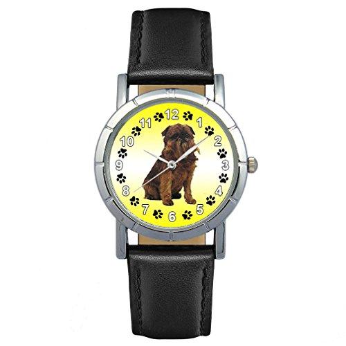 Leather Griffon Watch - Timest - Griffon Bruxellois - Womens Wrist Watch with Leather Strap in Black Round Analog Quartz SAS0060