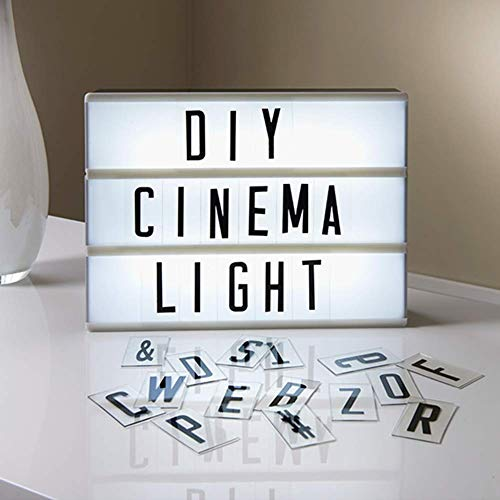 LED Letter Light Box,A4 Size Cinematic Light Up Box with 53 English Letters,Cinematic Light Box for DIY Text for Birthdays Parties, Home Retro Decorations, Christmas Decorations, USB or Battery Operat ()