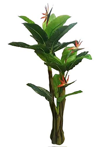 AMERIQUE Unique and Gorgeous 6' Bird of Paradise Artificial Tree Plant Real Touch Technology, Indoor and Outdoor, 21 Leaves 3 Flowers, Green