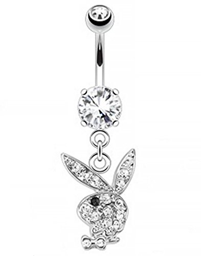S&H JEWELRY Multi Paved Gems on Playboy Bunny Dangle 316L Surgical Steel Navel Ring