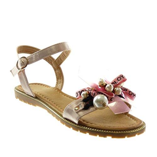 Angkorly Damen Schuhe Sandalen - Knöchelriemen - Band - Perle - Fantasy Flache Ferse 1.5 cm Rosa