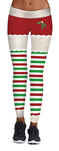 Green Striped Leggings (Jescakoo Womens Mistletoe Print Green Red Striped Leggings Ugly Christmas Party Costume)