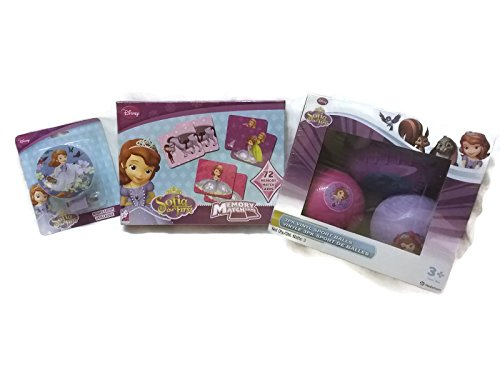 Sofia The First Costume Images - Sofia the First Theme Bundle - 1 Memory Matching Game, 1 Night Light, 1 Vinyl Sports Balls 3pk - (3 Items)