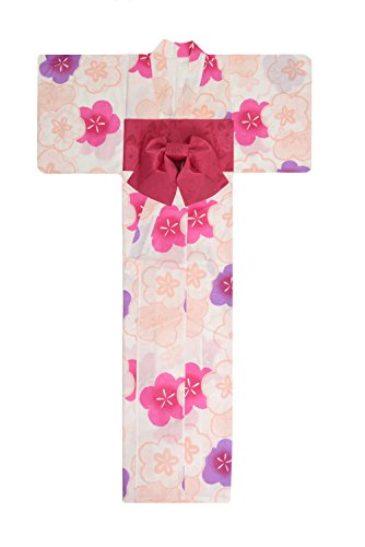 援助するお金ゴム相互接続KimonoMode24 Women's Japanese Yukata And Easy Wearing Obi Set/ Plum Blossom Pattern Free Size Pink