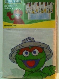 Sesame Street Stripes Letters Decorative Valance