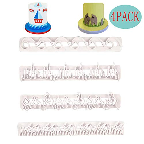 4 Pack Cake Fondant Embossing Mold Flame/Wave/Grass/Icicles Cookie Cutters Biscuit Moulds for Sugarcraft Fondant Baking Mold Cupcake Decorating Tool