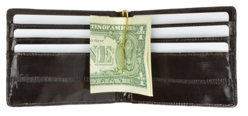 Eel Skin (Eel Skin Soft Leather Bifold Wallet with Center Money Clip by Marshal)