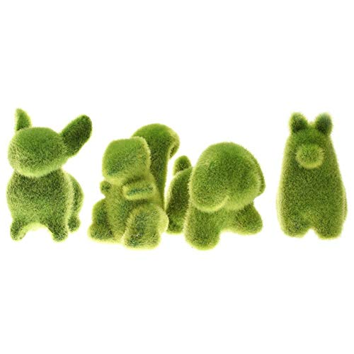 Smartcoco Cute Dog Alpaca Squirrel Rabbit Animal Shape Simulation Green Grass Ornaments Emulational Green Plant Bonsai Grass Animal Decoration for Home Garden (4 ()
