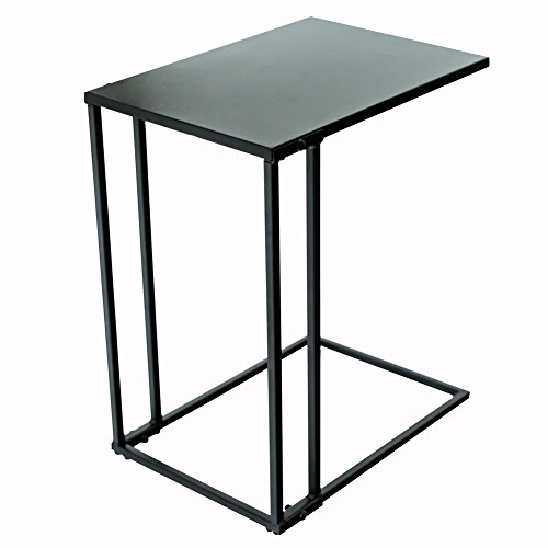 C-Hopetree C-Shaped Side End Coffee Table, Small Slide Under Coach Sofa Snack C Table for Living Room, Modern Industrial Black Metal - Table Steel Room Living Sofa