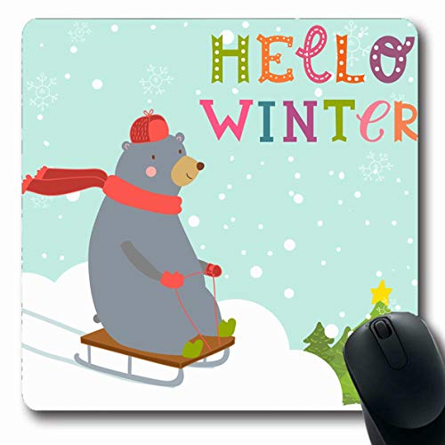 Ahawoso Mousepad Oblong 7.9x9.8 Inches Xmas Red Winter Bear Sledding Down Hills Wild Trees Inscription Sled December Hello Sledge Design Office Computer Laptop Notebook Mouse Pad,Non-Slip Rubber