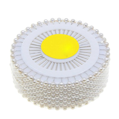 Saim 480pcs Decorative Round Faux Pearl Head Corsage Sewing Pins Straight Dressmaking Pins (Pearl Faux Corsage)