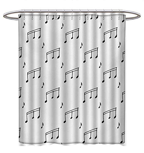 Anhuthree Music Shower Curtain Collection by Musical Notes Theme Melody Sonata Singing Song Clef Tunes Hand Drawn Style Pattern Satin Fabric Sets Bathroom W48 x L84 Charcoal Grey