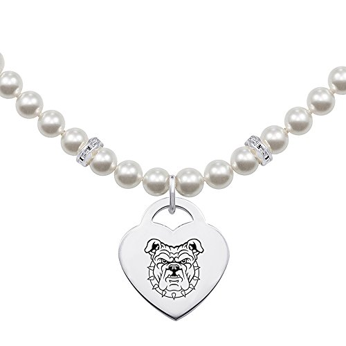 (North Carolina A&T Wolfpack College Jewelry and Swarovski Pearl Necklace with Heart Necklace)