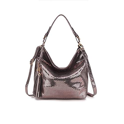 big sale 6f435 60216 Leather Tassel Shopper Silver Bandoulière À Women Crossbody Large Bag Femme  Serpentine Sacs TqX4ndwX