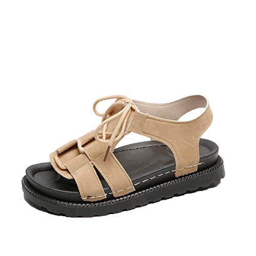 Claystyle Sandalias Planas de para Mujeres Zapatos de Playa con Fondo grueso Sandalias abiertas con Cordones de Verano Beige