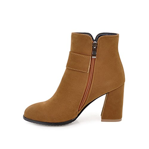 Ladola Womens Pointed-Toe Solid Metal Buckles Zip High-Heel Suede Boots Yellow pESB1hD