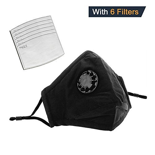 Anti Pollution Mask with Exhaust Valve + 6 FILTERS - Military Grade N95 N99 Carbon Activated, Air, Dust, Smoke Filter - Cotton Washable Respirator Breathing Mask with Adjustable Straps & Nose Bridge.