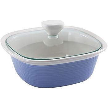 Corningware Etch Blue Cornflower 1.5-qt Square w/ Glass Lid