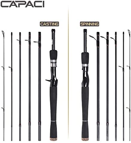 CAPACI Portable Travel Casting Spinning Bass Fishing Rods Super Convenience 24 Ton Carbon Fiber Rod for Salt Fresh Water Comfortable EVA Handle 6 Pieces