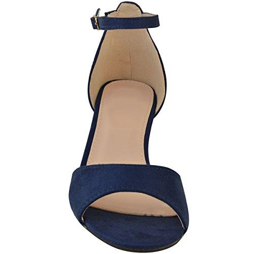 Tamaño Fashion marino Heel de Zapatos Womens Low Sandalias cuña Ladies Thirsty Heelberry® tiras Faux Suede Kitten negras con corte de trabajo Azul de YRxfYaw