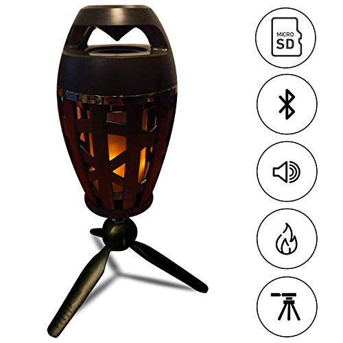 (Bluetooth Speaker -Micro SD Card -LED Lamp Flame Flicker -Tripod - Indoor Outdoor - Home - Camping - Perfect for Parties-Relaxing at Home - Ideal Travelling - Portable -Wireless - Great Gift)
