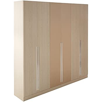 Manhattan Comfort Eldridge Collection 6 Door Freestanding Wardrobe Closet  For Bedroom, Oak Vanilla And Nude