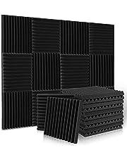 Ljudabsorbator akustiskt skum, 24 stycken svart akustiskt skum för podcasts, inspelningsstudior, kontor, hemundervisning, akustisk skummatta (30 x 30 x 2,5 cm)