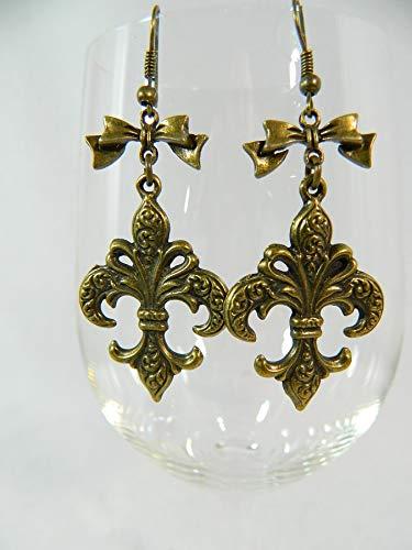Ohrringe Steampunk Bronze Fleur de Lys Schleifchen Modeschmuck Chandeliers Ohrschmuck Gothic Barock Rokoko