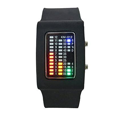 Relojes binarios multifuncionales / relojes pieza LED cangrejo-Negro: Amazon.es: Relojes