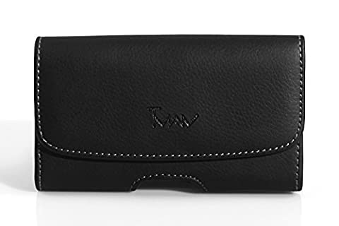 Horizontal Leather Belt Clip Case Cover Pouch Holster for LG Nitro HD / P930 / Fits with Otterbox Commuter / Defender / (Lg Nitro Hd P930 Otter Box)