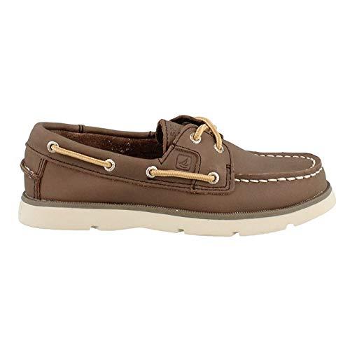 (SPERRY Boy's, Leeward Boat Shoe Dark Brown 6.5 M)
