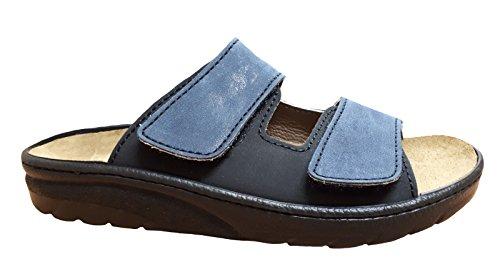 Algemare Herren Leder Pantolette Blau Größe 40 bis 47 Wechselfußbett Blau